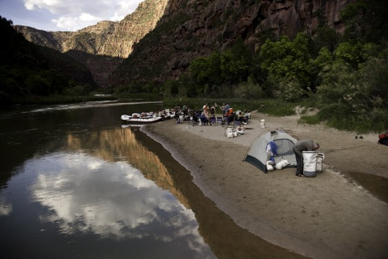 River runners relaxing at camp on the Green River.