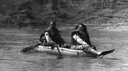 River runner Georgie White Clark (right) is shown here with Harry Aleson on a Grand Canyon raft trip in 1947. Credit: Cline Library/Northern Arizona University.