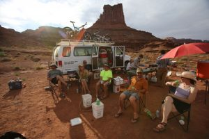 Francisco Kjolseth | The Salt Lake Tribune Riders at the Airport Campground reflect on the first day of a mountain bike trip with Holiday Expeditions on the White Rim Trail in Canyonlands National Park in May, 2013.