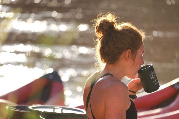 Morning Coffee on a Utah river rafting trip