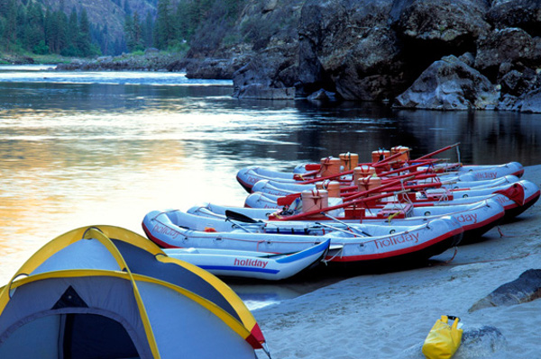 Main Salmon Rafting Trip Camp Boats