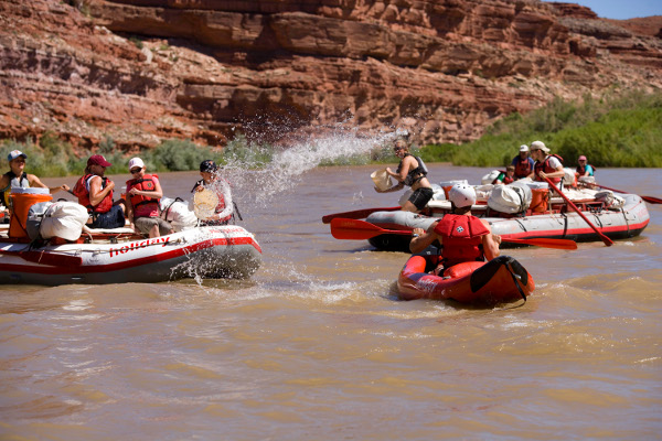 San Juan River Rafting Trip Water fight
