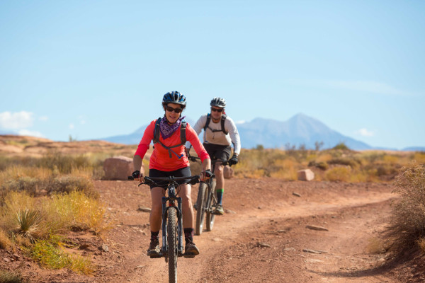 White Rim Mountain Biking Couple