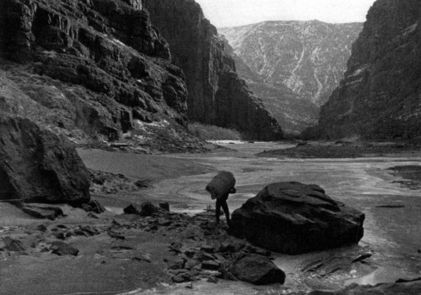 Rex Gill and Jim Crozier's epic trip on foot through the Canyon of Lodore to take pictures for the tourist camp. NPS Photo