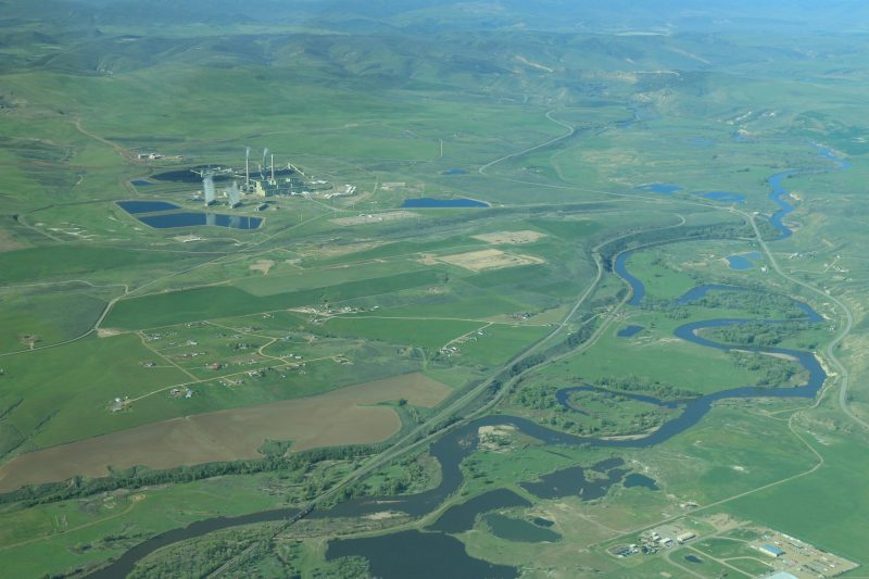 areal river and power plant